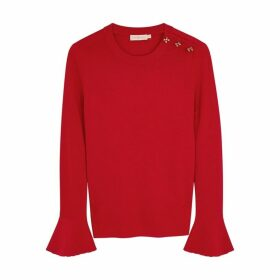 Tory Burch Bijoux Button Crystal-embellished Wool Jumper