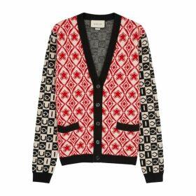 Gucci Logo-intarsia Wool Cardigan
