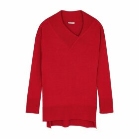 Crea Concept Red Asymmetric Wool-blend Jumper