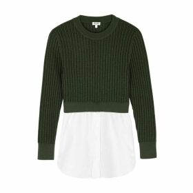 Kenzo Army Green Layered Cotton Jumper