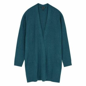 EILEEN FISHER Teal Ribbed Cashmere Cardigan