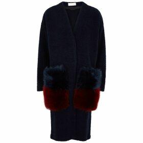 Anne Vest Navy Fur-trimmed Bouclé Cardigan