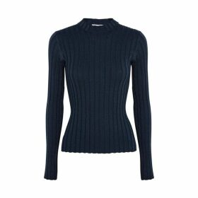 Vince Navy Ribbed Wool-blend Jumper