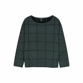 EILEEN FISHER Checked Merino Wool-blend Jumper