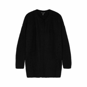 EILEEN FISHER Black Cashmere-blend Cardigan