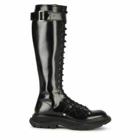 Alexander McQueen Black Leather Knee-high Boots