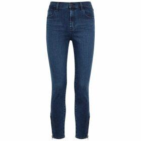 J Brand Alana Blue Cropped Skinny Jeans