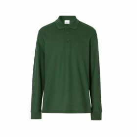 Burberry Long-sleeve Monogram Motif Cotton Pique Polo Shirt