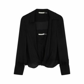 Alice + Olivia Jannie Black Silk And Lace Blouse