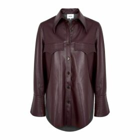 Nanushka Elpi Plum Faux Leather Shirt