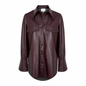 Nanushka Elpi Plum Faux Leather Shirt