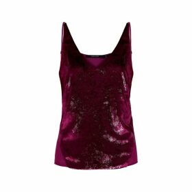 J Brand Lucy Red Metallic Velvet Top