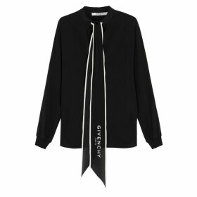 Givenchy Black Silk Crepe De Chine Blouse