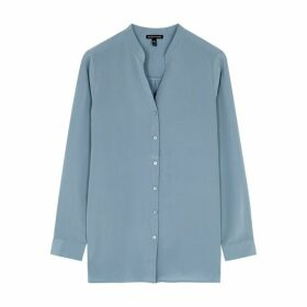 EILEEN FISHER Blue Silk Shirt