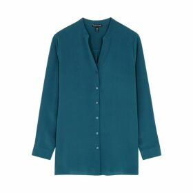 EILEEN FISHER Teal Silk Shirt