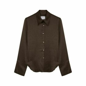 Nanushka Mandine Dark Brown Satin Shirt