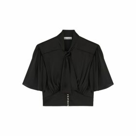 Paco Rabanne Black Cropped Satin Blouse