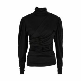 Isabel Marant Davina Black Draped Wool Top