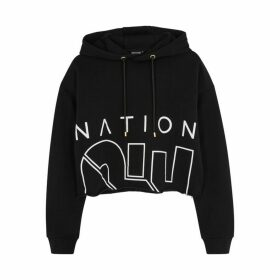 P.E Nation Restart Black Cropped Cotton Sweatshirt