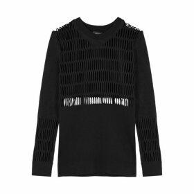 Adidas X Stella McCartney Black Distressed Stretch-jersey Top