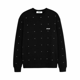 MSGM Black Crystal-embellished Cotton Sweatshirt
