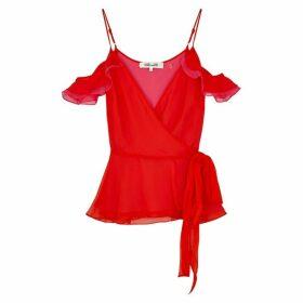 Diane Von Furstenberg Kemma Red Silk-chiffon Wrap Top
