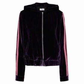 Serena Bute Purple Hooded Velvet Sweatshirt