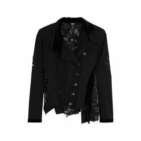 HIGH Artful Black Asymmetric Lace And Jersey Shirt