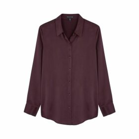 EILEEN FISHER Plum Brushed Silk Shirt