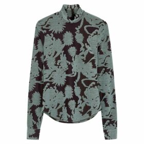 Jil Sander Plum Floral-jacquard Jersey Top