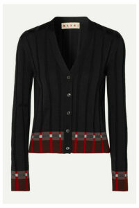 Marni - Ribbed Wool-blend Cardigan - Black