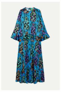 RIANNA + NINA - Julia Printed Satin Maxi Dress - Turquoise