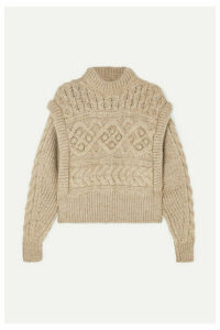 Isabel Marant - Milane Cropped Cable-knit Merino Wool Sweater - Neutral