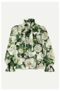 Dolce & Gabbana - Pussy-bow Floral-print Silk-organza Blouse - Green