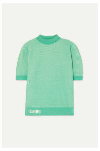 Fendi - Intarsia-trimmed Layered Open-knit Sweater - Green