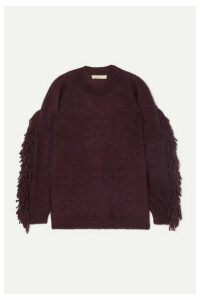 Vanessa Bruno - Mina Fringed Mohair-blend Sweater - Grape