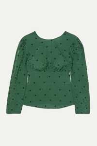 ALEXACHUNG - Gathered Floral-jacquard Top - Dark green