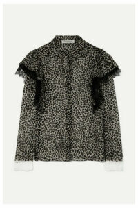 Philosophy di Lorenzo Serafini - Lace-trimmed Ruffled Animal-print Chiffon Blouse - Gray