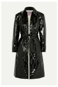 ALEXACHUNG - Belted Crinkled Coated Cotton-blend Coat - Black