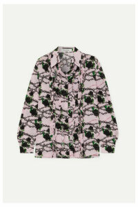 Valentino - Ruffled Printed Silk Crepe De Chine Blouse - Pink