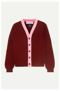 Comme des Garçons GIRL - Two-tone Knitted Cardigan - Burgundy