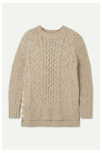 Alex Mill - Button-embellished Cable-knit Merino Wool-blend Sweater - Beige