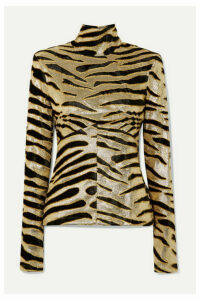 Paco Rabanne - Velvet-flocked Lamé Turtleneck Top - Gold
