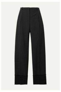 Theory - Frayed Satin-trimmed Wool Straight-leg Pants - Black