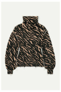 Unravel Project - Frayed Intarsia Wool-blend Turtleneck Sweater - Zebra print