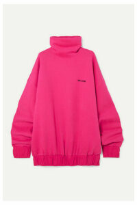 we11done - Oversized Embroidered Cotton-blend Jersey Turtleneck Sweatshirt - Fuchsia