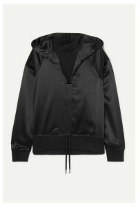 Palm Angels - Ruched Satin And Cotton-terry Hoodie - Black