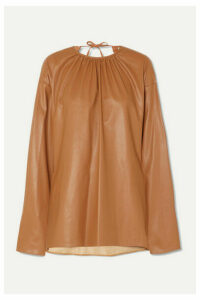 we11done - Gathered Open-back Faux Leather Top - Beige