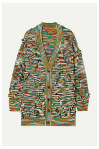 Missoni - Oversized Fringed Intarsia Wool-blend Cardigan - Dark gray