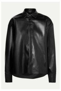 A.W.A.K.E. MODE - Business Woman Asymmetric Faux Leather Shirt - Black